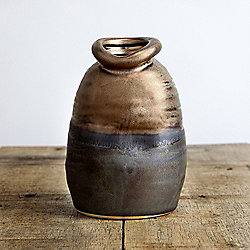Distorted Bronze Ceramic Small 12cm Lipped Vase