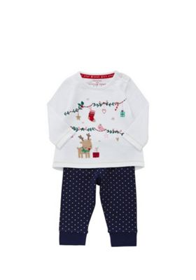 F&F Reindeer Embroidered Christmas Top and Leggings Set 12-18 months White & Navy