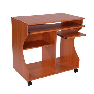 desk dp computer dining walnut shelf w dorm home amazon homcom com office elevated kitchen