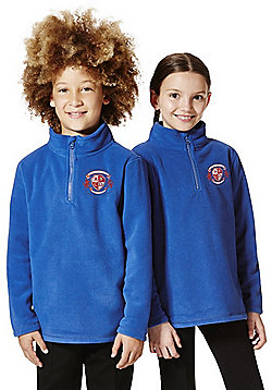 Unisex Embroidered Half Zip School Fleece - Blue