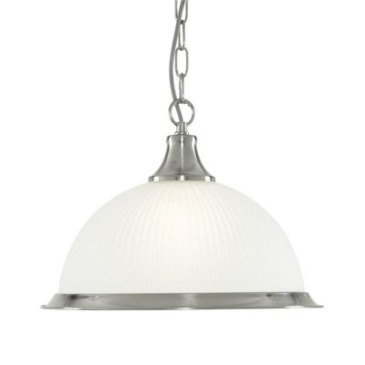 AMERICAN DINER 1 LIGHT PENDANT SATIN SILVER OPAQUE GLASS