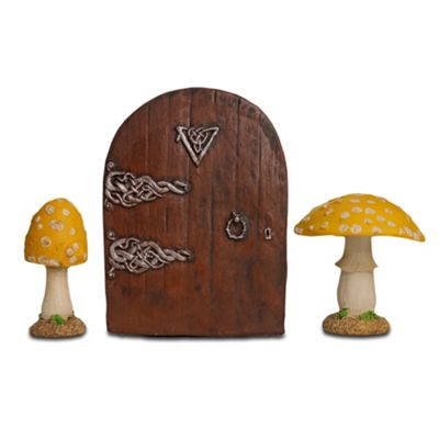 Fairy Garden Starter Kit Set with Pair of Yellow Mushrooms & Fairy Door
