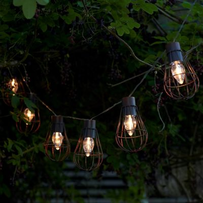 Set of 10 Rustic Metal Cage Solar String Lights