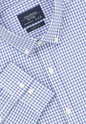 F&F Gingham Slim Fit Long Sleeve Shirt Navy 14.5