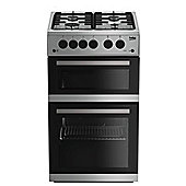 Beko Double Oven Gas Cooker, KDG582S - Silver
