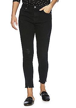 F&F Ripped Split Hem Mid Rise Skinny Jeans - Black