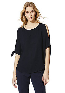 Izabel London Cold Shoulder Top - Navy