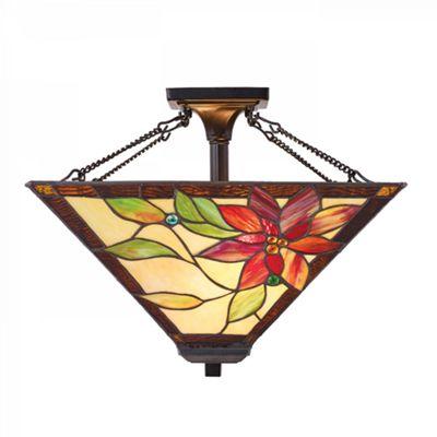 Semi flush Light - Tiffany style glass & dark bronze paint with highlights