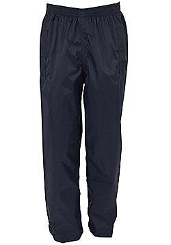 Pakka Kids Fold Pack Away Waterproof Overtrousers Walking Hiking Rain Trousers - Black