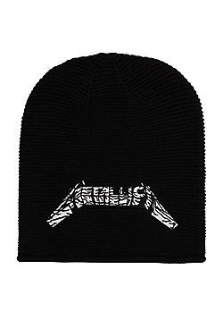 Metallica Master Logo Black Slouch Beanie - Black