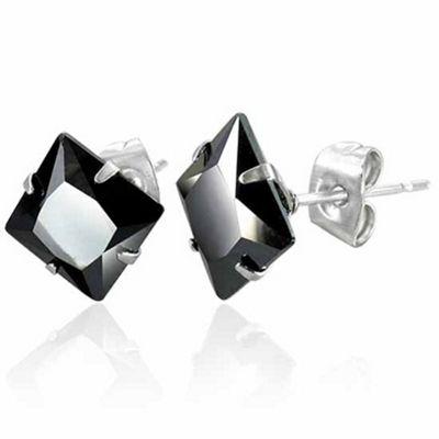 Urban Male Men's Black Agate Square Stainless Steel Stud Earrings 8mm