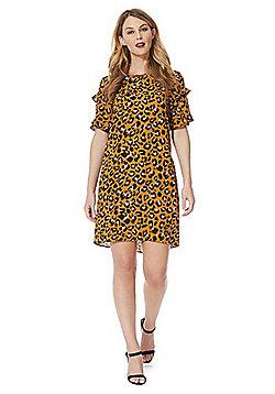 JDY Leopard Print Frill Sleeve Dress - Tan