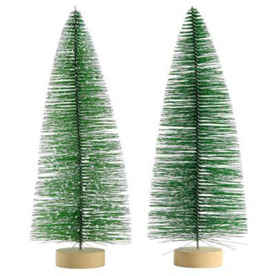 2 x 25cm Green Plastic Bottle Brush Bristle Christmas Tree Ornaments