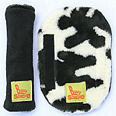 Buggy Snuggle Black Fleece Strap Covers (Cow Fur)