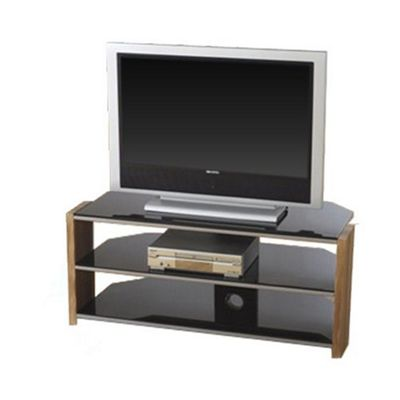 Hollyhurst Walnut and Black Glass Corner TV Stand