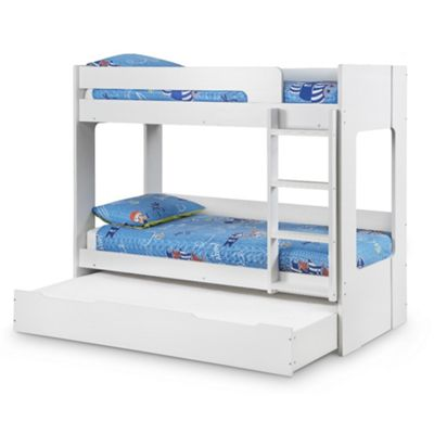 Happy Beds Ellie Wood Kids Bunk Bed and Underbed Trundle Guest Bed with 3 Open Coil Spring Mattresses - White - 3ft Single
