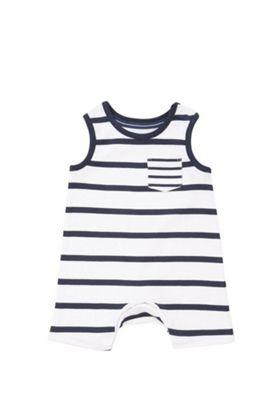 F&F Striped Sleeveless Romper White/Navy 0-1 months