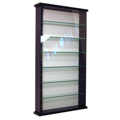 Techstyle 6 Shelf Solid Wood and Glass Wall Display Unit