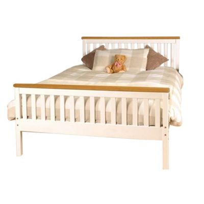 Comfy Living 4ft6 Double Slatted Bed Frame in White with Caramel Bar with Damask Memory Mattress