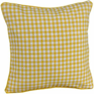 Homescapes Cotton Gingham Check Yellow Cushion Cover, 60 x 60 cm