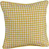 Homescapes Cotton Gingham Check Yellow Scatter Cushion, 60 x 60 cm