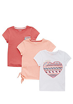 F&F 3 Pack of Embroidered and Plain T-Shirts - Multi