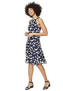 Mela London High Neck Lace Butterfly Dress - Blue