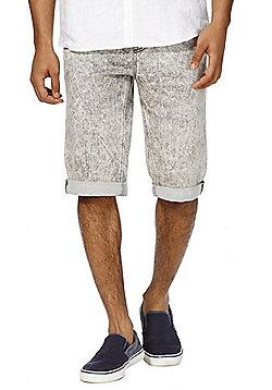 F&F Acid Wash Knitted Denim Shorts - Grey