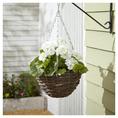 Foliage Artificial White Geranium Hanging Basket