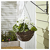 Foliage Artificial White Geranium Hanging Basket