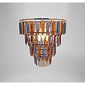 Country Club 25cm Tiered Copper & Grey Chandelier Light Shade