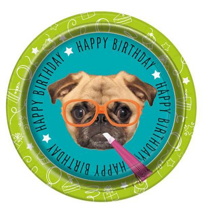 Pug Puppy Birthday Paper Party Plates - 23cm