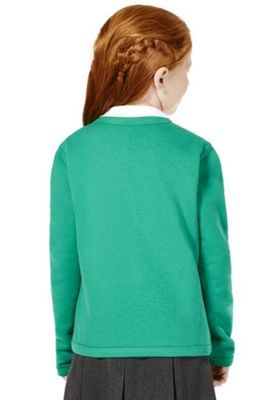 Girls Embroidered Jersey School Cardigan with As New Technology Jade Green 2-3 years