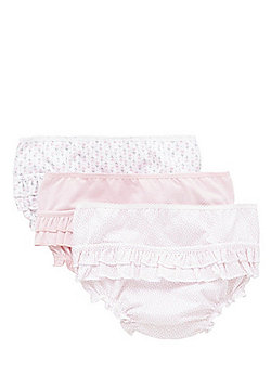 F&F 3 Pack of Frilly Broderie Anglaise Briefs - Pink & White