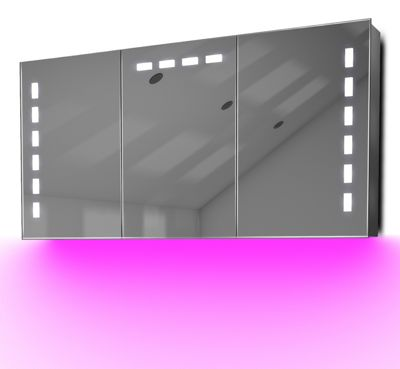 Demist Cabinet With LED Under Lighting, Sensor & Internal Shaver Socket k379p