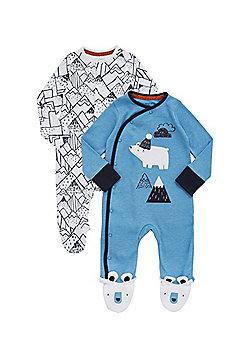 F&F 2 Pack of Polar Bear Sleepsuits - Multi