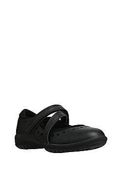F&F Crossover Strap Scuff Resistant Leather School Shoes - Black