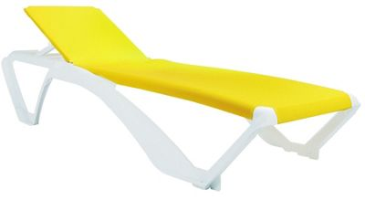 Resol Marina Sun Lounger - White Frame with Yellow Canvas Material
