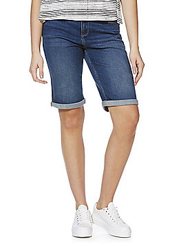 F&F Authentic Turn-Up Knee Length Denim Shorts - Mid wash