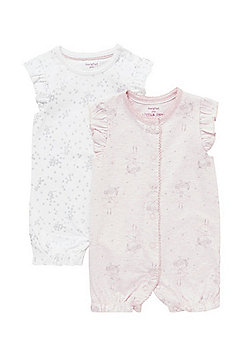 F&F 2 Pack of Frilly Cap Sleeve Rompers - Pink & White
