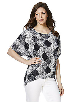 Voulez Vous Diamond Pattern Short Sleeve Jumper - Navy