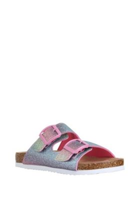 F&F Rainbow Glitter Moulded Footbed Sandals Multi Adult 1