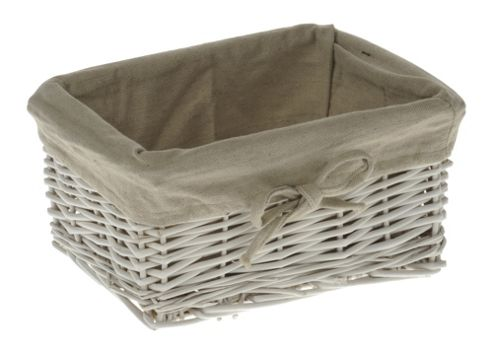 Wicker Valley Tobs Willow Storage Small Basket in White