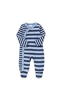 F&F Striped Fleece Sleepsuit - Blue