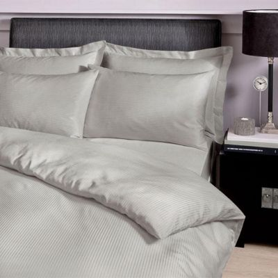 Catherine Lansfield Satin Stripe 300 TC Grey Fitted Sheet - King