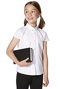 F&F School 2 Pack of Girls Easy Care Pintuck Cap Sleeve Shirts - White