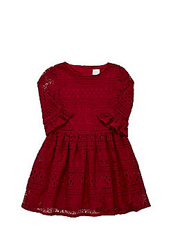 F&F Lace Fit and Flare Dress - Red