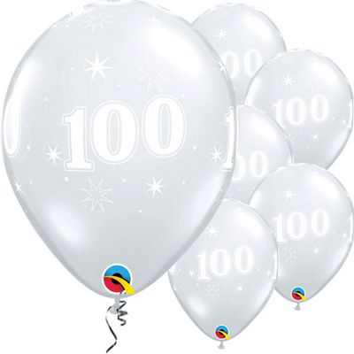 100th Birthday Sparkle Clear Balloon - 11 inch Latex - 25 Pack