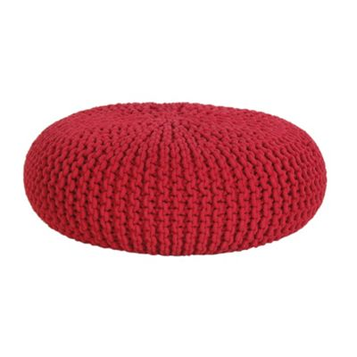 Homescapes Large Cotton Red Knitted Pouffe Round