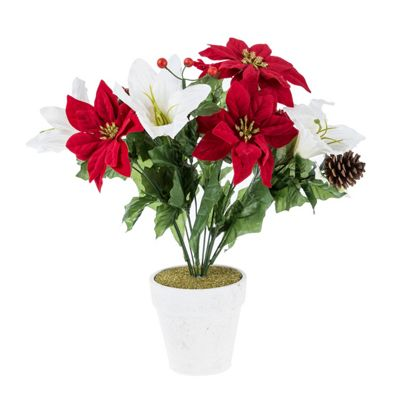 homescapes artificial christmas flowers red and white poinsettia in white pot